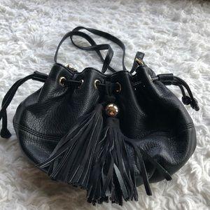 Deux Lux black leather bucket bag
